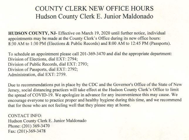 County Clerks New Office Hours